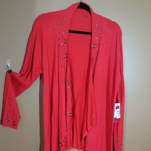 Red cardigan with grommets